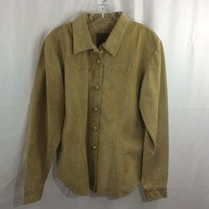 Double D Ranchwear Western Tan Leather Top Shirt